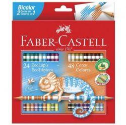 Lápis de Cor Faber Castell 48 Cores Bicolor