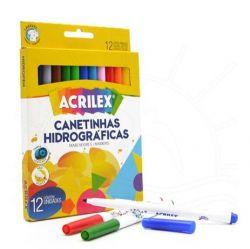 Canetinhas Hidrograficas 12 cores Acrilex