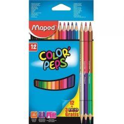 Lápis De Cor 12 Cores+3 Lápis Duo Color Peps