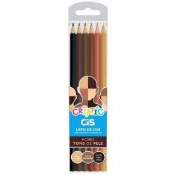 Lápis De Cor Tons De Pele Com 6 Cores