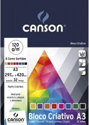 Bloco Criativo Cards A3 120g/m² 8 Cores 32 Folhas