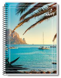 Caderno Pequeno Espiral 200 Folhas Happy Adventure