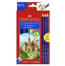 Lápis de Cor Faber Castell Ecolápis 12 Cores + 3 Lápis Grafite