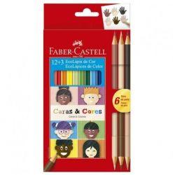 Lápis De Cor Faber Castell Ecolápis 12+3 Caras e Cores