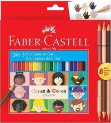 Lápis De Cor Faber Castell Ecolápis 24+3 Caras e Cores