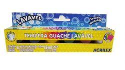 Tinta Tempera Guache Lavável Acrilex 6 Cores